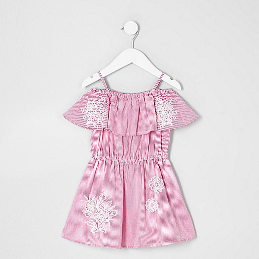 Mini girls pink stripe bardot dress