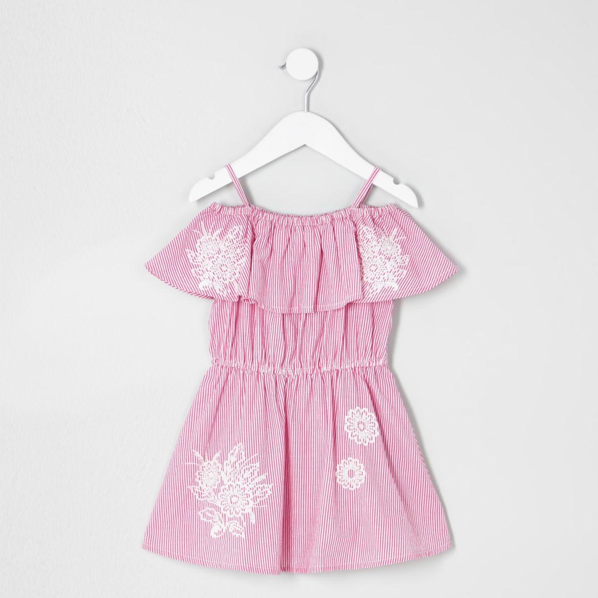 Robe Bardot rose à rayures mini fille