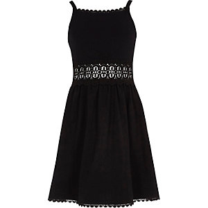 Girls black crochet waist dress