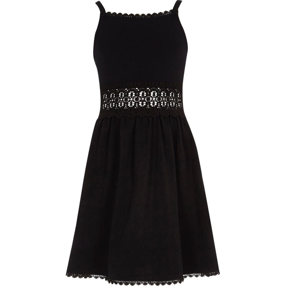 Girls black crochet waist dress