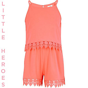 Girls coral layered crochet hem playsuit