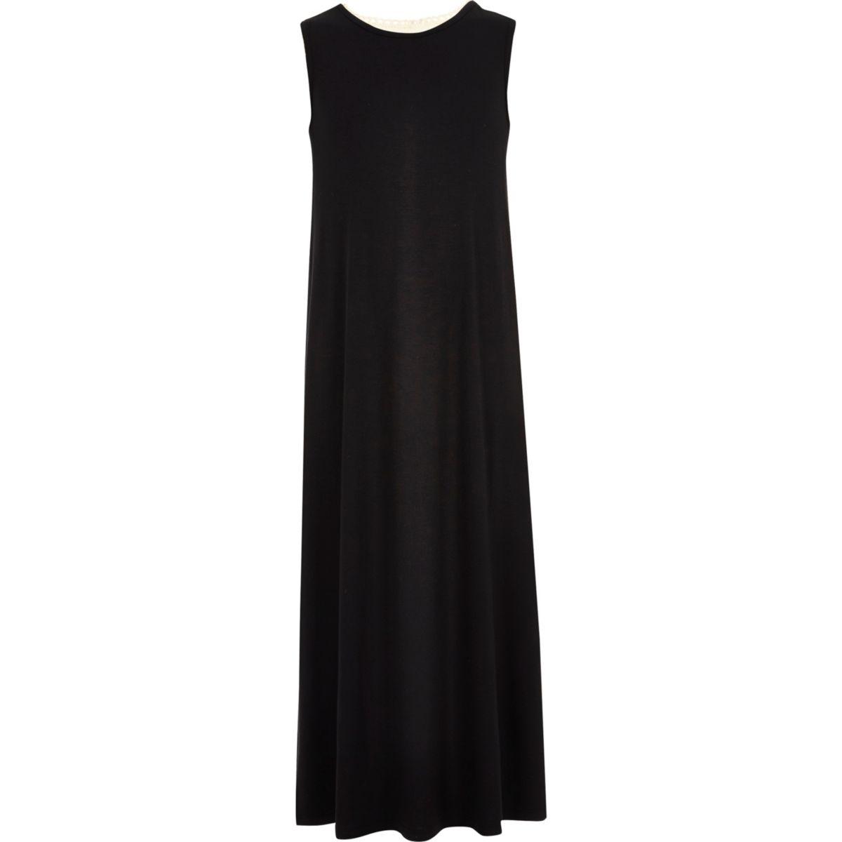 Girls black crochet back maxi dress