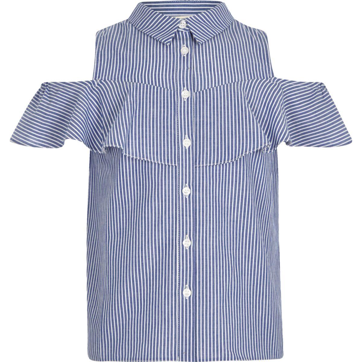 Girls blue stripe print cold shoulder shirt