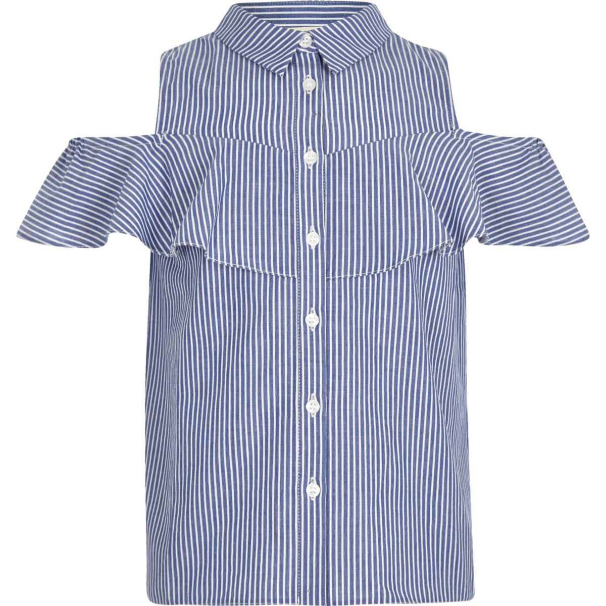 Girls blue stripe print cold shoulder shirt