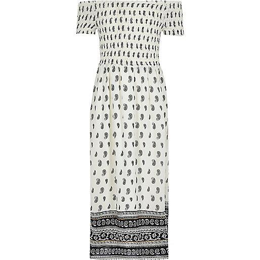 Girls white tile shirred bardot maxi dress