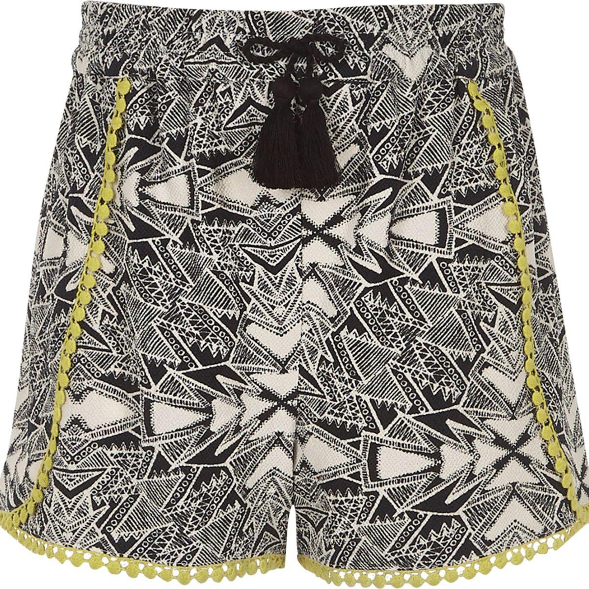 Girls black aztec print crochet trim shorts
