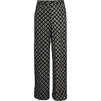 Girls black diamond print palazzo trousers