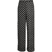 Girls black diamond print palazzo pants