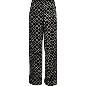 Girls black diamond print palazzo pants