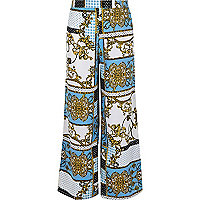 Girls blue baroque print palazzo pants