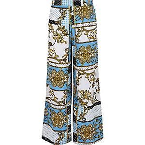 Girls blue baroque print palazzo trousers