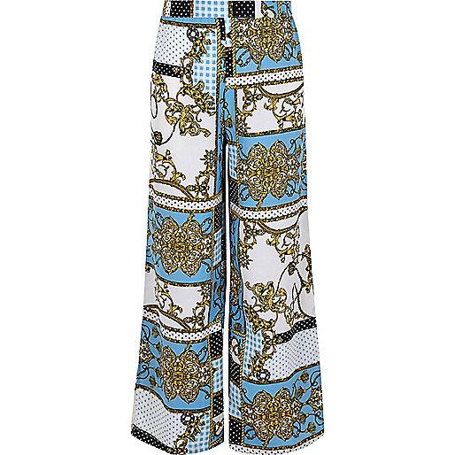 Girls blue baroque print palazzo pants