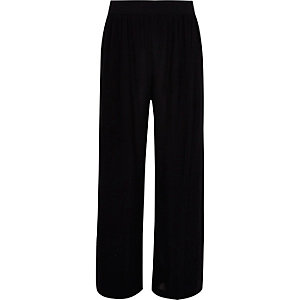 Girls black palazzo wrap trousers