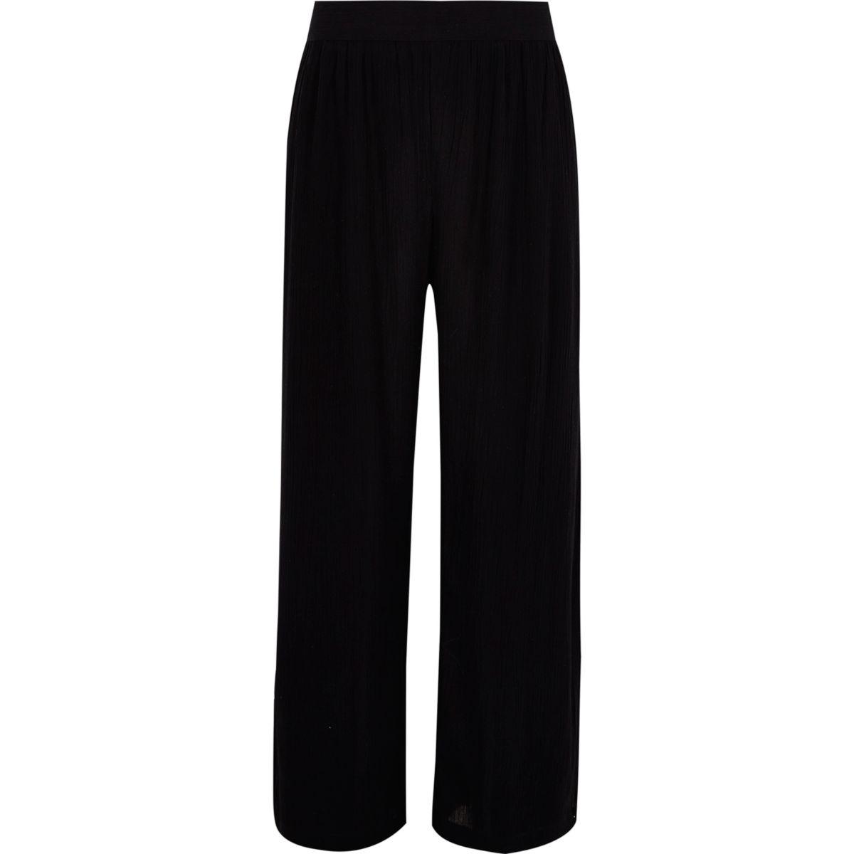 Girls black palazzo wrap trousers