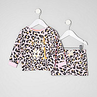 Mini girls animal print sweatshirt outfit