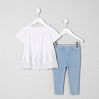 Mini girls bardot top and leggings outfit