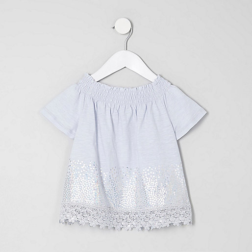 Mini girls blue bardot sequin top