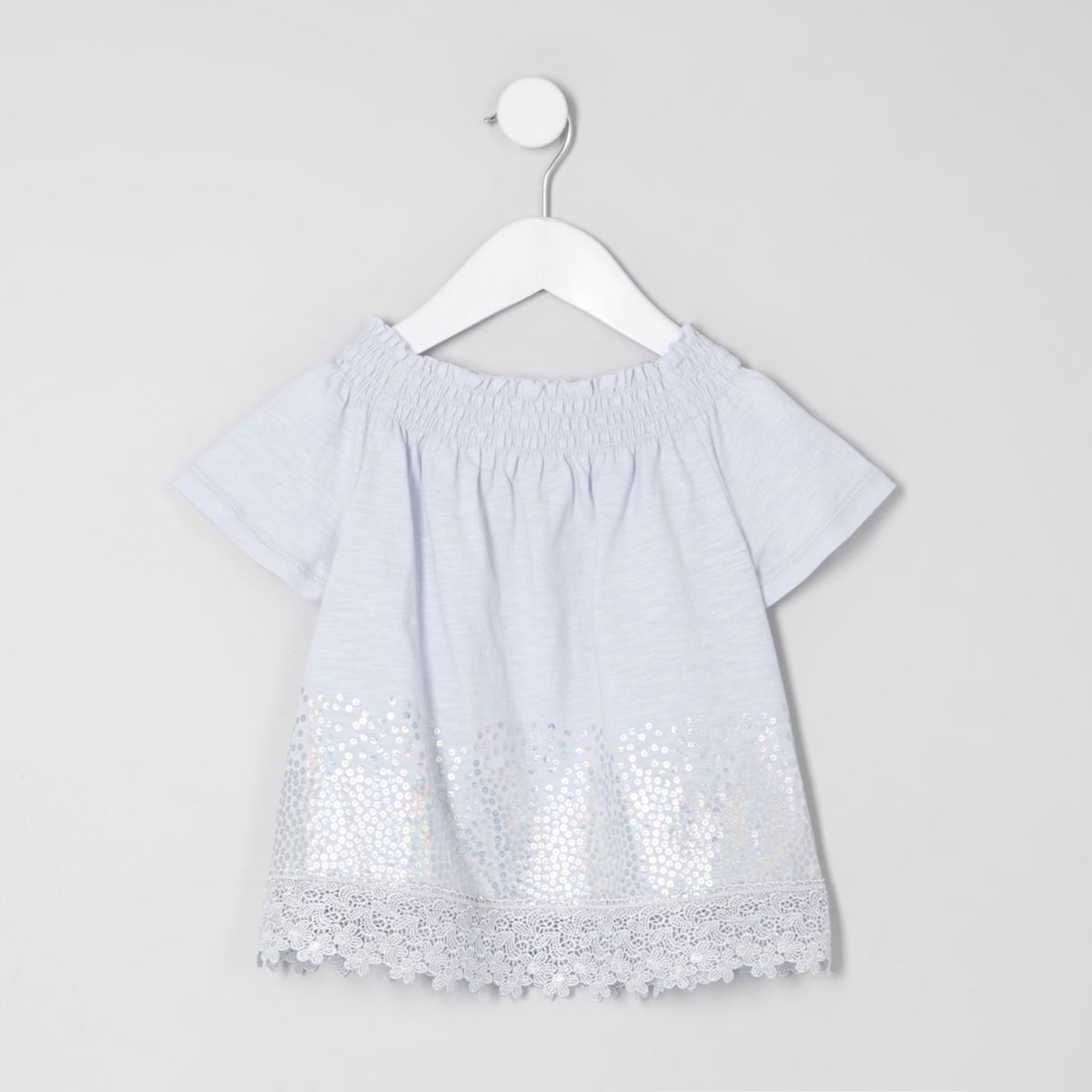 Top Bardot bleu à sequins mini fille