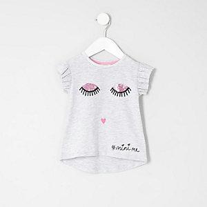 T-Shirt mit Wimpernmuster und Rüschenärmeln