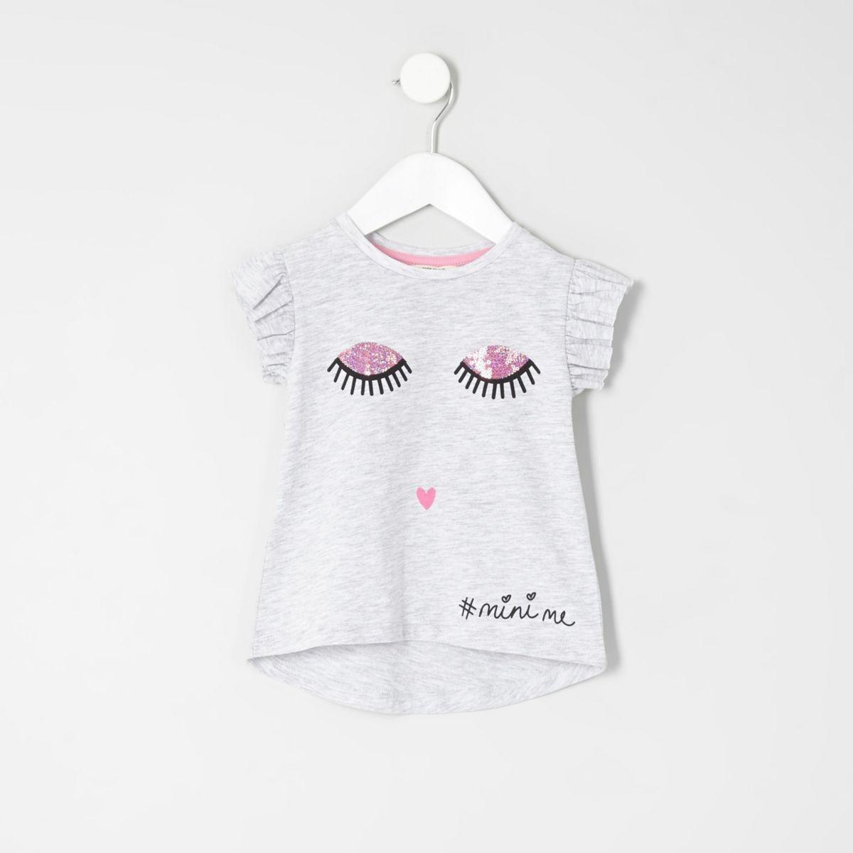 Mini girls grey eyelash frill sleeve T-shirt