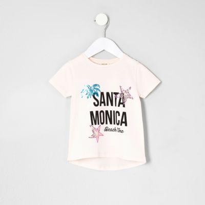 Mini Roze T-shirt met Santa Monica'-print voor meisjes