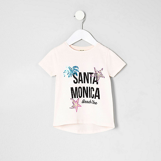 Mini girls pink 'Santa Monica' T-shirt