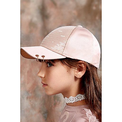 Girls pink RI Studio sequin cap