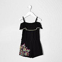 Mini girls black contrast print romper