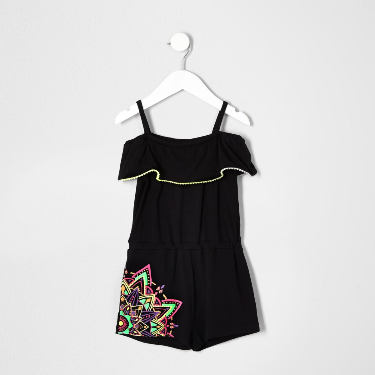 Mini girls black contrast print romper