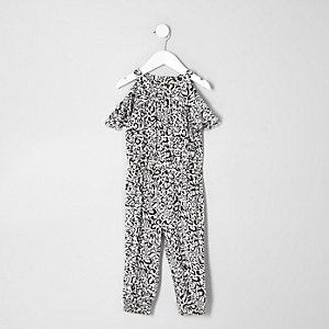 Mini girls white print cold shoulder jumpsuit