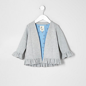 Veste gris chiné à volants mini fille