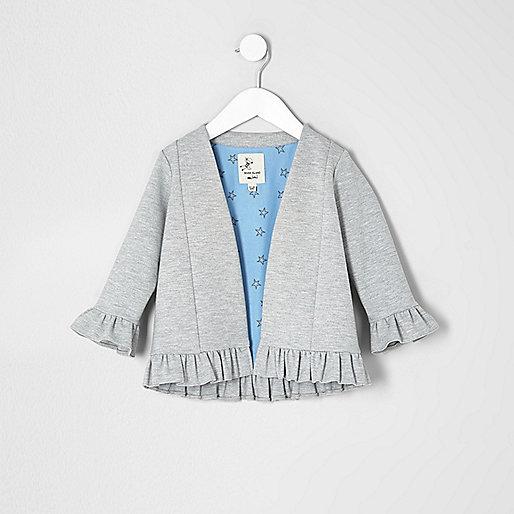 Mini girls grey marl frill hem jacket
