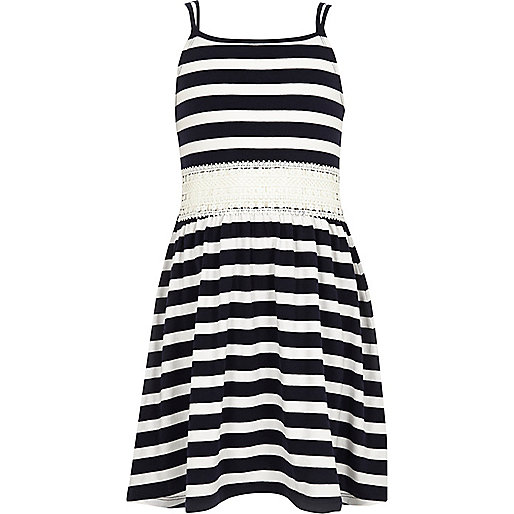 Girls navy stripe crochet dress