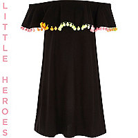 Girls black double layer pom pom midi dress