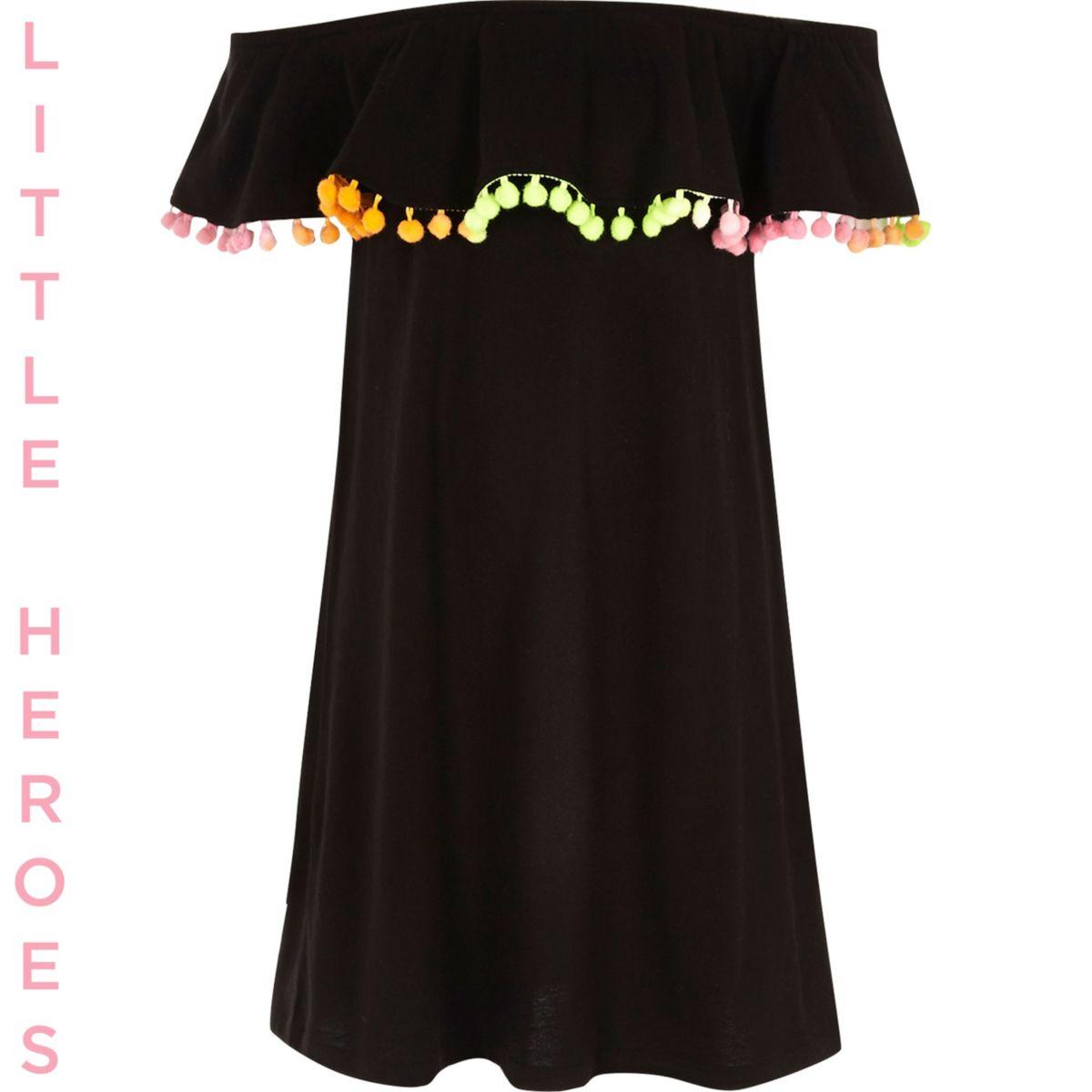 Girls black double layer pom pom midi dress
