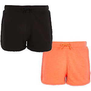 Girls black and coral jersey shorts multipack