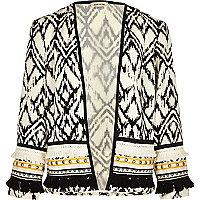 Girls white embellished kimono jacket