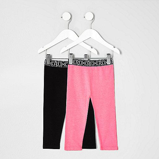 Mini girls black and pink leggings set
