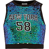Girls green 'New York' sequin crop top