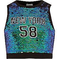 Girls green 'New York' sequin crop top