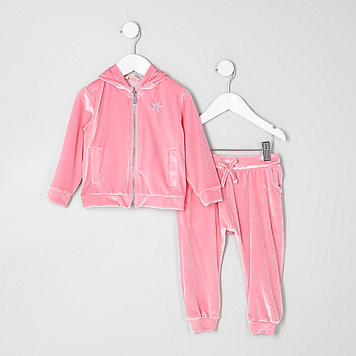 Mini girls pink velour hoodie outfit