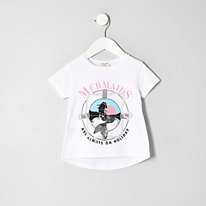 Mini girls white 'Mermaids' print T-shirt