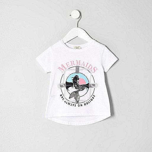 Mini girls white 'Mermaids' print T-shirt