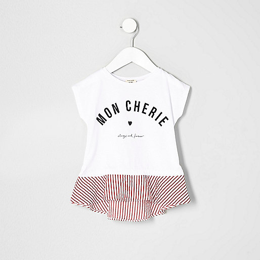 Mini girls white print peplum hem T-shirt