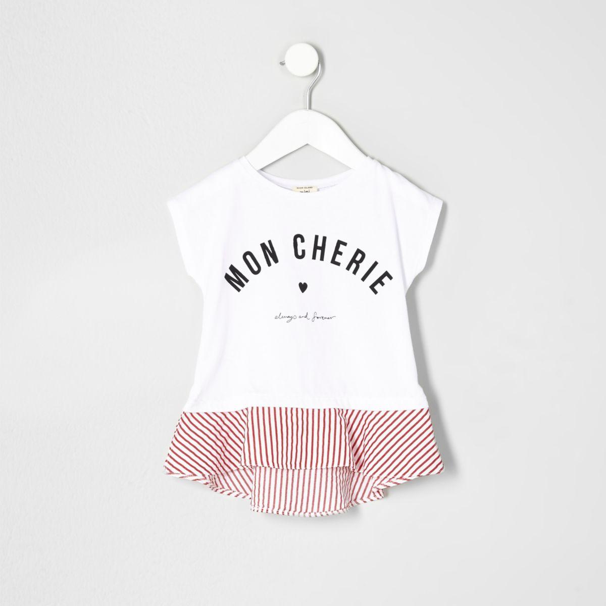 Mini girls white print peplum hem T-shirt