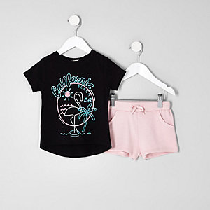 Mini girls black 'California' T-shirt outfit
