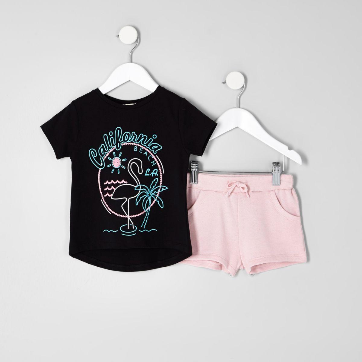 Mini girls black 'California' T-shirt outfit