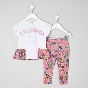 Mini girls leaf print peplum T-shirt outfit