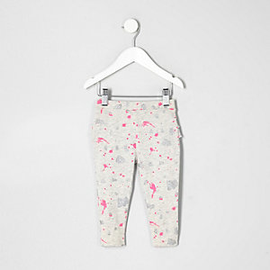 Mini girls grey paint splatter leggings