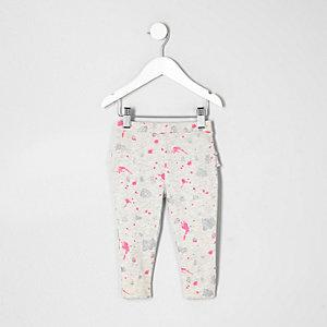 Legging imprimé éclaboussures de peinture gris pour mini fille